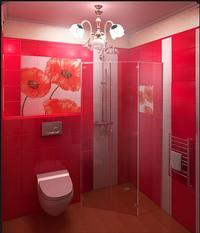 Salle de Bains Coquelicot - Carrelage 20 x 20 Rouge Cerise - Faience