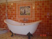 Salle de bains Nectarine, décor et frises personnalisés