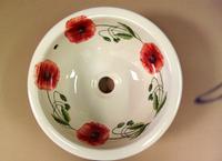 Vasque ronde décorée Coquelicots