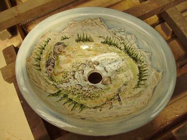Sanitaire-décoré-vasque-évier-cuisine-salle-de-bains-douche-lavabos-artisanat-de-salernes