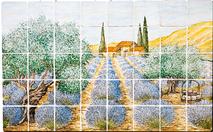 Carrelage - Décoration - Champ de Lavande - Fresque - Tableau - Faïence de Provence à Salernes