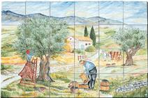 Carrelage - Décoration - Cueillette des Olives- Fresque - Tableau - Faïence de Provence à Salernes