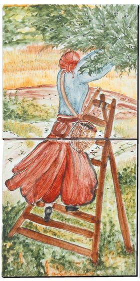Carrelage - Décoration - Cueillette des Olives 4 Ensemble de 2 carreaux - Motif - Design - Faïence de Provence à Salernes