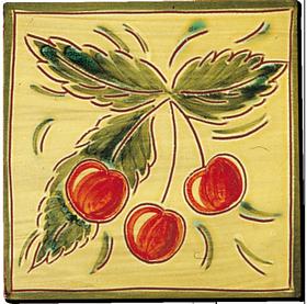 Carrelage - Décoration - Fruits façon Antique - D Cerise- Motif - Design - Faïence de Provence à Salernes