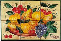 Carrelage - Décoration - Coupe Fruits façon Antique- Fresque - Tableau - Faïence de Provence à Salernes