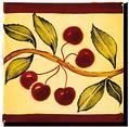 Carrelage - Décoration - Frise Senteurs de Provence Cerise- Motif - Design - Faïence de Provence à Salernes