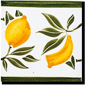 Carrelage - Décoration - Frise Senteurs de Provence Citron- Motif - Design - Faïence de Provence à Salernes