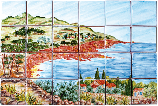 Est rel carrelage d coration fresque tableau for Fresque carrelage