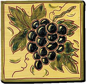 Carrelage - Décoration - Fruits façon Antique - Raisins - Design - Faïence de Provence à Salernes