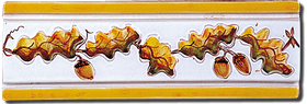 Carrelage - Décoration - Frise 7.5 x 22 Feuilles de Chêne - Motif - Design - Faïence de Provence à Salernes