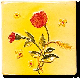 Carrelage - Décoration - Décor 11 x 11 - Coquelicot - Design - Faïence de Provence à Salernes