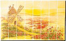 Carrelage - Décoration - Moulin de Daudet - Fresque - Tableau - Faïence de Provence à Salernes