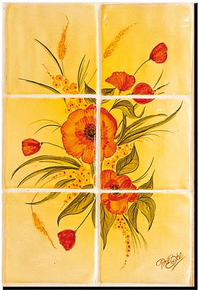 Carrelage - Décoration - Coquelicots - Fresque - Tableau - Faïence de Provence à Salernes