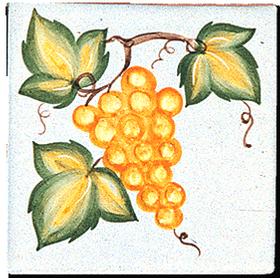 Carrelage - Décoration - 11 x 11- Les raisins - Design - Faïence de Provence à Salernes