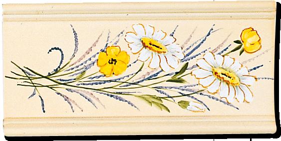 Carrelage - Décoration - Ensemble de 2 carreaux Champêtre- Fresque - Tableau - Faïence de Provence à Salernes
