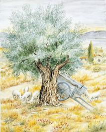 Panneau Décoré - Fresque - Paturages - Fait Main - Salernes en Provence