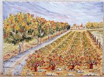Panneau Décoré - Fresque - Les Vignes - Fait Main - Salernes en Provence